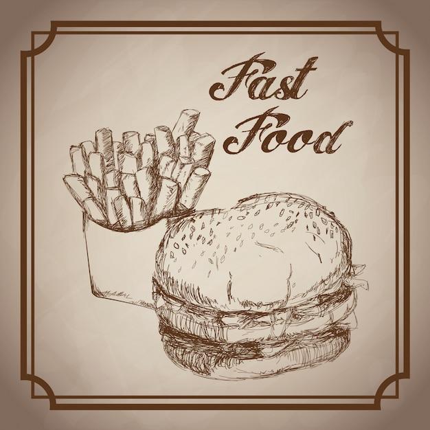 Fast food disegnato a mano hamburger e patatine fritte Vettore Premium