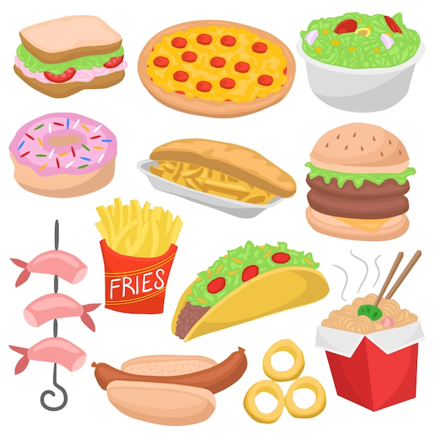 Fast food doodle color menu icon restaurant pasti Vettore Premium