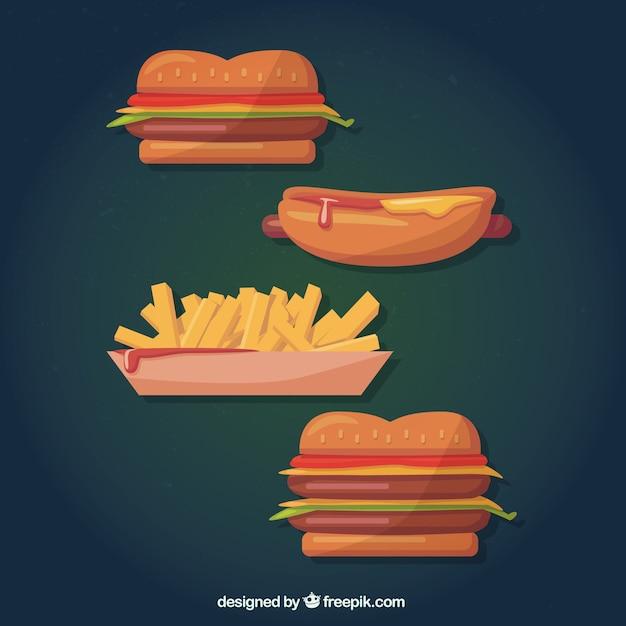 Fast food in stile cartone animato scaricare vettori gratis