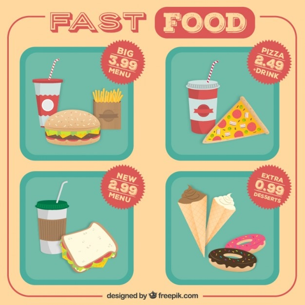 Fast food offerta menu Vettore gratuito