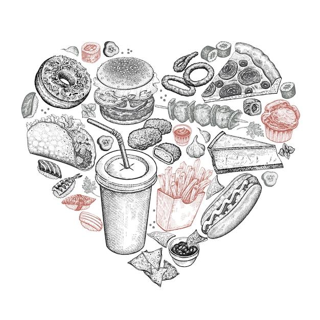 Fast food presentato sotto forma di cuore. Vettore Premium