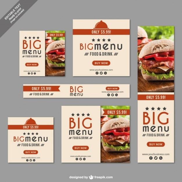 Fast food ristorante banner set Vettore gratuito