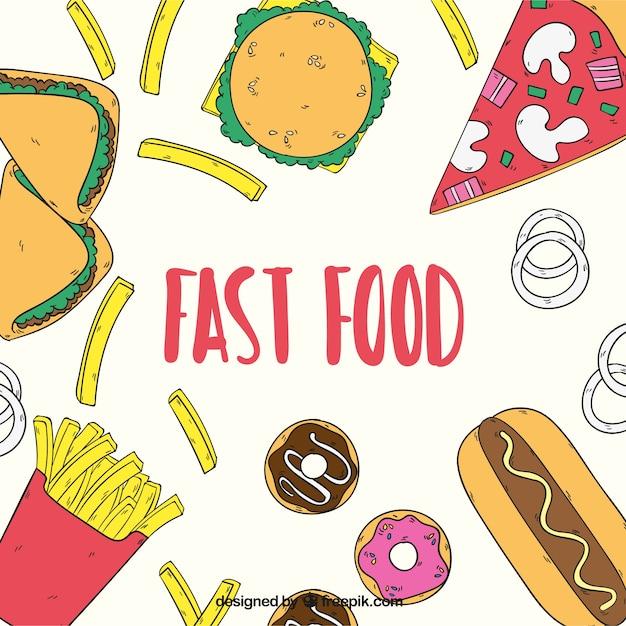 Fast food, sfondo disegnato a mano Vettore gratuito