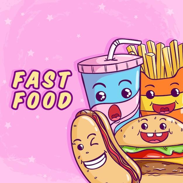 Fast food sveglio con l'hot dog dell'hamburger e la tazza di soda usando stile colorato di scarabocchio sul rosa Vettore Premium