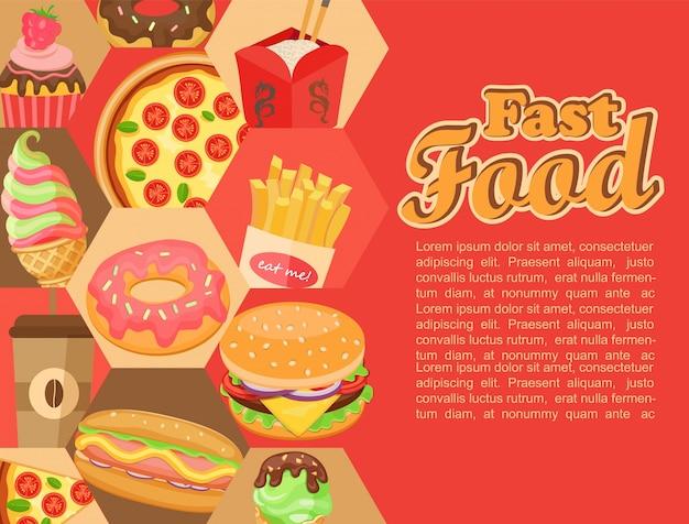 Fast food, vettore. Vettore Premium