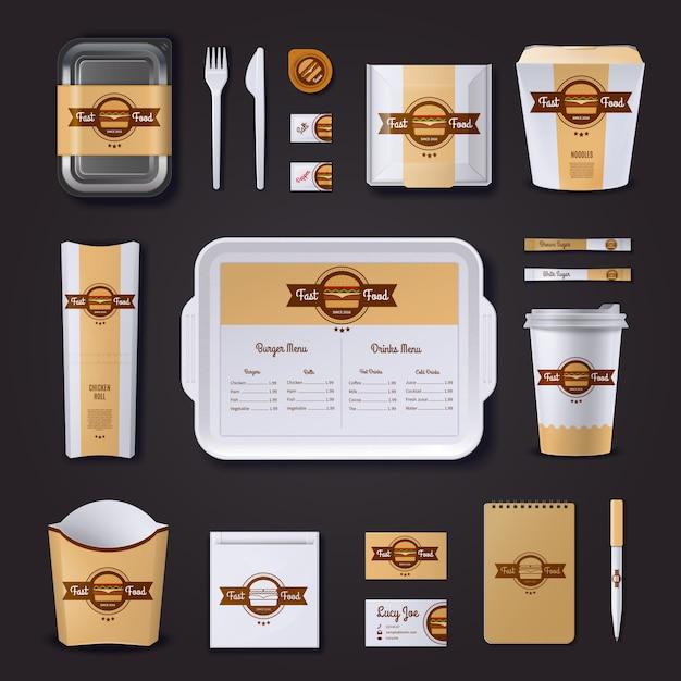 Fastfood ristorante design aziendale Vettore Premium