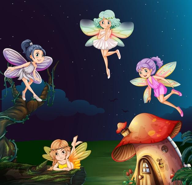 Fata a casa dei funghi di notte Vettore Premium