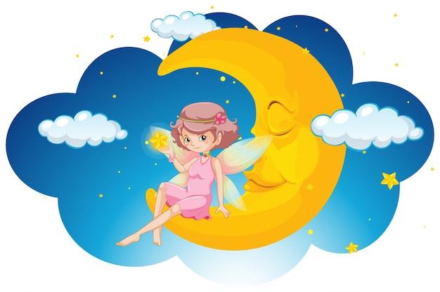 Fata carino seduto sulla luna di notte Vettore gratuito