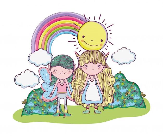 Fata del ragazzo con creatura ragazza con sole e arcobaleno Vettore Premium