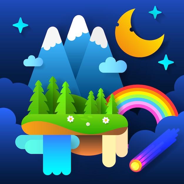 Fata della notte. luna nel cielo con un arcobaleno e le stelle. vettore Vettore Premium