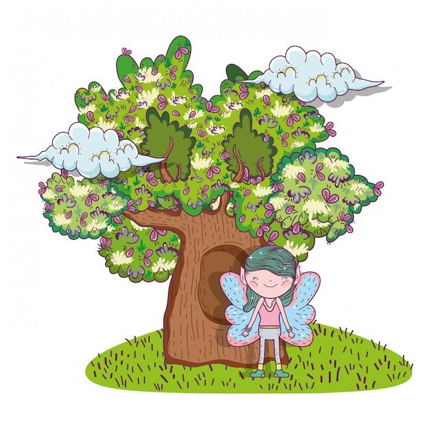 Fata fantastica creatura con case sugli alberi Vettore Premium