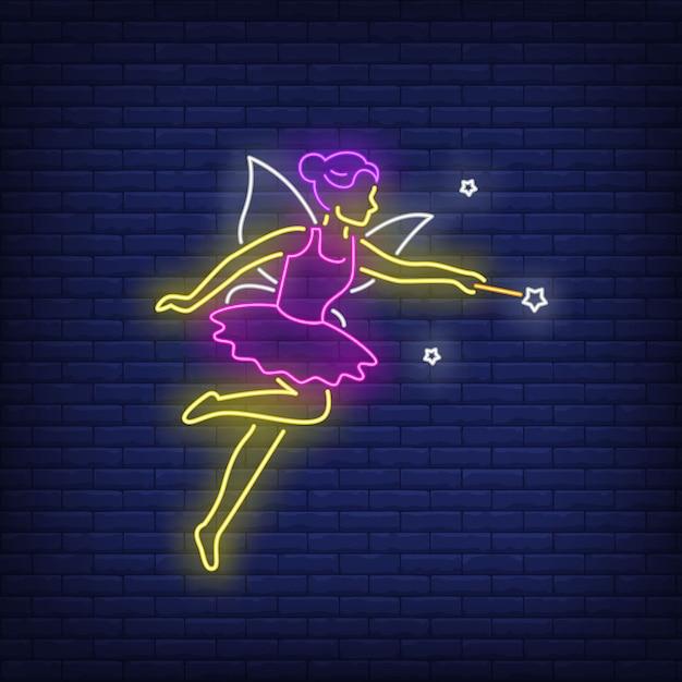 Fata in abito viola in stile neon Vettore gratuito