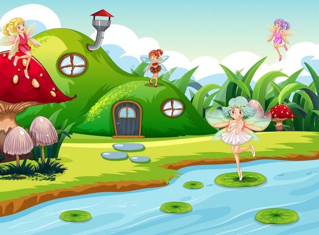 Fate di fantasia nella scena verde Vettore gratuito