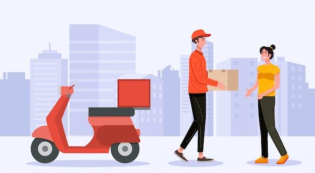 Fattorino che tratta la scatola del pacchetto del pacco al cliente. vettore Vettore Premium