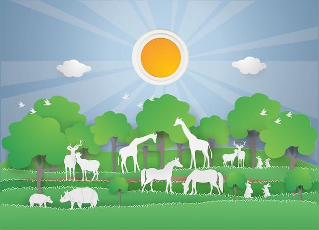 Fauna selvatica degli animali nella foresta verde sulla stagione primaverile Vettore Premium