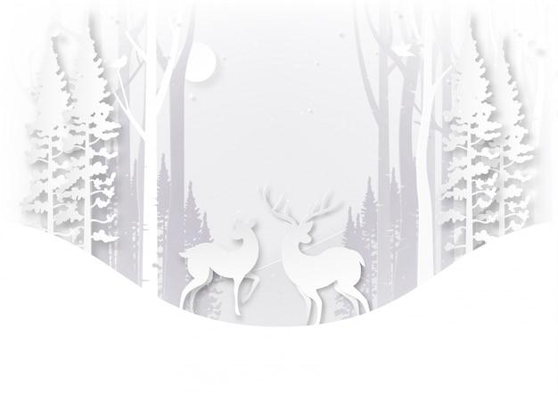 Fauna selvatica dei cervi in foresta sul concetto di paesaggio e di giorno di natale di stagione invernale. Vettore Premium