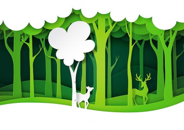 Fauna selvatica verde della foresta e dei cervi con il paesaggio della natura, stile di arte di carta di strati. Vettore Premium