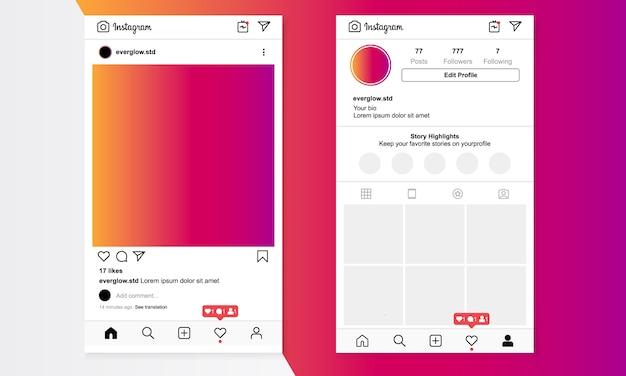 Feed di instagram e modello di profilo utente Vettore Premium