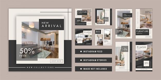 Feed e storie di instagram di mobili Vettore Premium