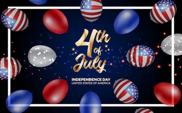 Felice 4 ° del giorno di indipendenza luglio d'america illustrazione Vettore Premium