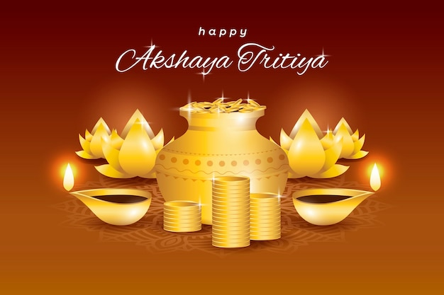 Felice akshaya tritiya con simboli di abbondanza Vettore gratuito