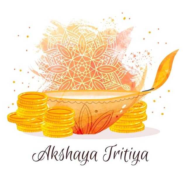 Felice akshaya tritiya monete d'oro Vettore gratuito