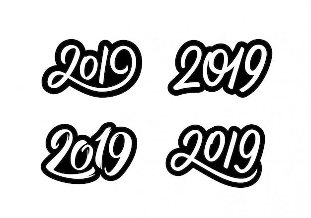 Felice anno nuovo 2019 adesivi con numeri di calligrafia Vettore Premium