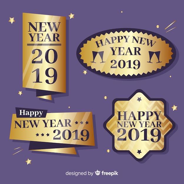 Felice anno nuovo 2019 collezione di etichette Vettore gratuito