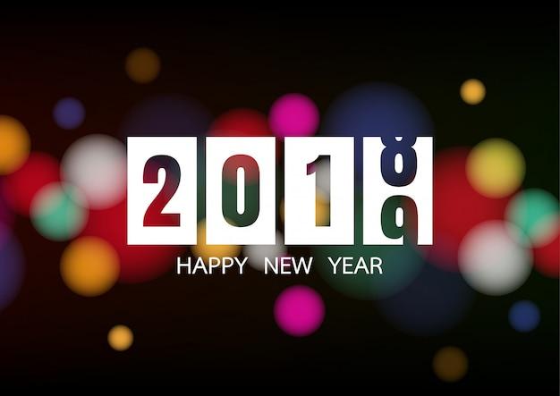 Felice anno nuovo 2019 con luci bokeh bianche Vettore Premium