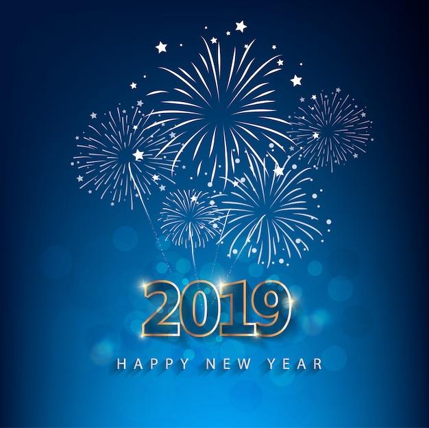 Felice anno nuovo 2019 con sfondo di fuochi d'artificio. capodanno cinese, anno del maiale. Vettore Premium