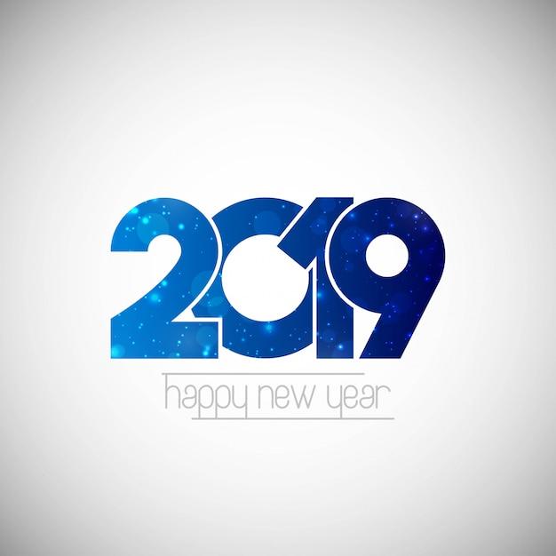 Felice anno nuovo 2019 design con sfondo bianco Vettore gratuito