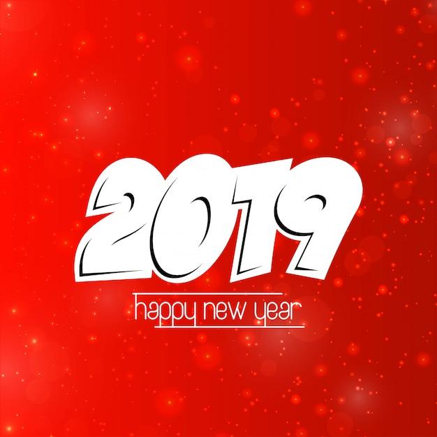 Felice anno nuovo 2019 design con sfondo rosso Vettore gratuito