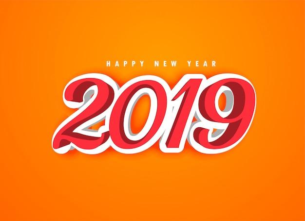 Felice anno nuovo 2019 in stile 3d Vettore gratuito