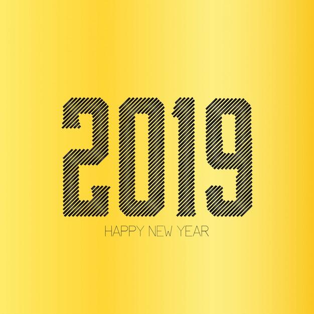 Felice anno nuovo 2019 tipografia con design creativo vettoriale Vettore gratuito
