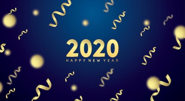 Felice anno nuovo 2020 con effetto dorato in blu scuro Vettore Premium