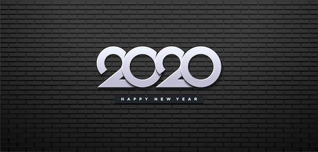 Felice anno nuovo 2020 con muro nero e numeri bianchi. Vettore Premium