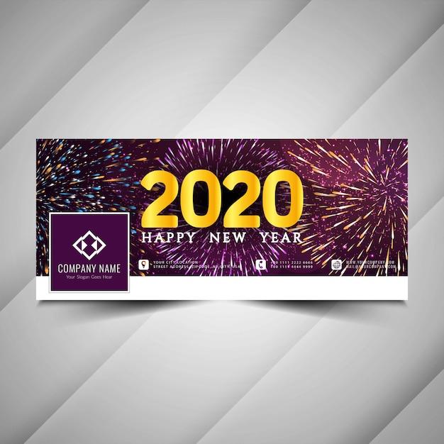 Felice anno nuovo 2020 copertina facebook con fuochi d'artificio Vettore Premium
