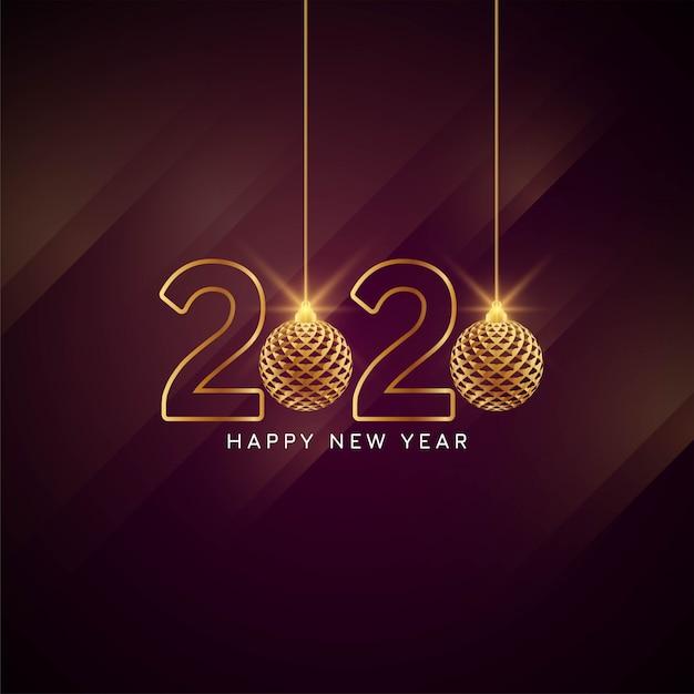 Felice anno nuovo 2020 elegante biglietto di auguri Vettore gratuito