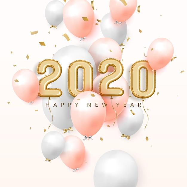 Felice anno nuovo 2020 festeggia lo sfondo, palloncini in lamina d'oro con numeri e coriandoli Vettore Premium