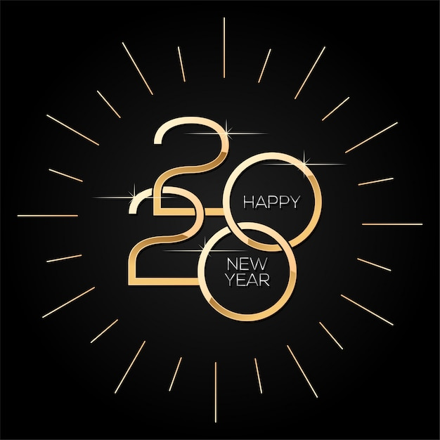 Felice anno nuovo 2020, modello quadrato minimalista con testo in oro su nero Vettore Premium