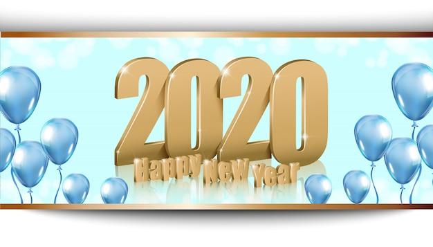 Felice anno nuovo 2020 sfondo lucido con lettere d'oro 3d Vettore Premium