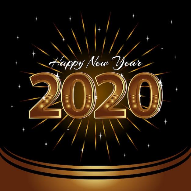 Felice anno nuovo 2020 sfondo vettoriale Vettore Premium