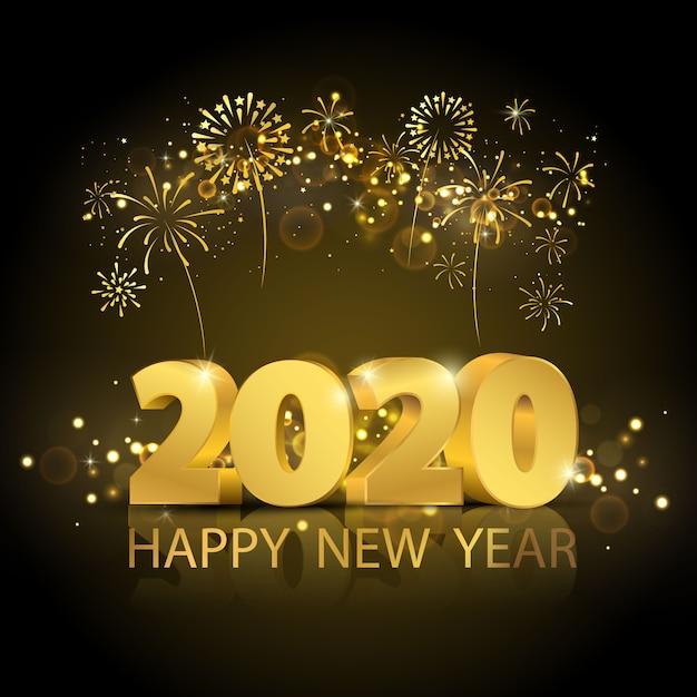 Felice anno nuovo 2020 sullo sfondo. Vettore Premium