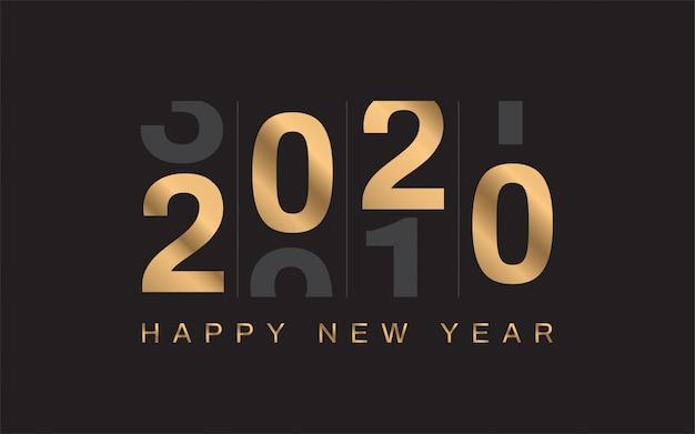 Felice anno nuovo 2020 sullo sfondo Vettore Premium