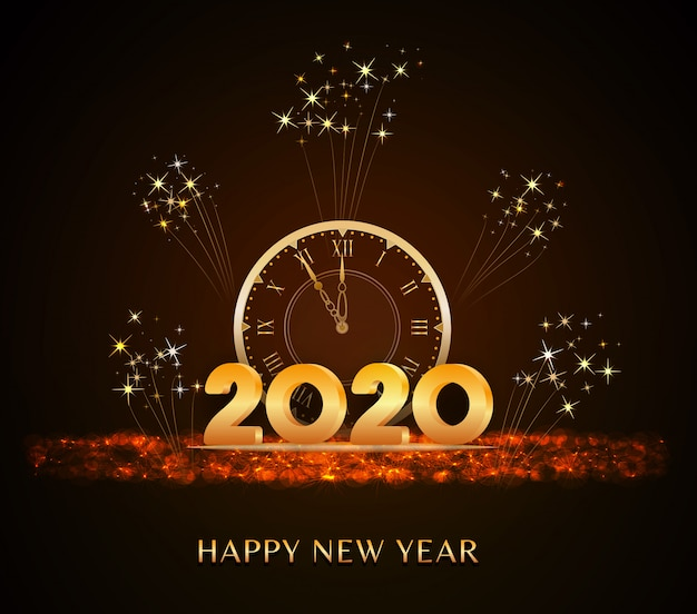 Felice anno nuovo 2020, testo di capodanno con numeri d'oro 3d e orologio vintage in vacanza glitter Vettore Premium