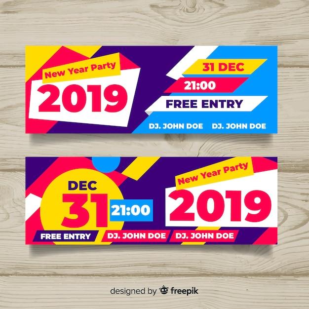 Felice anno nuovo banner 2019 Vettore gratuito