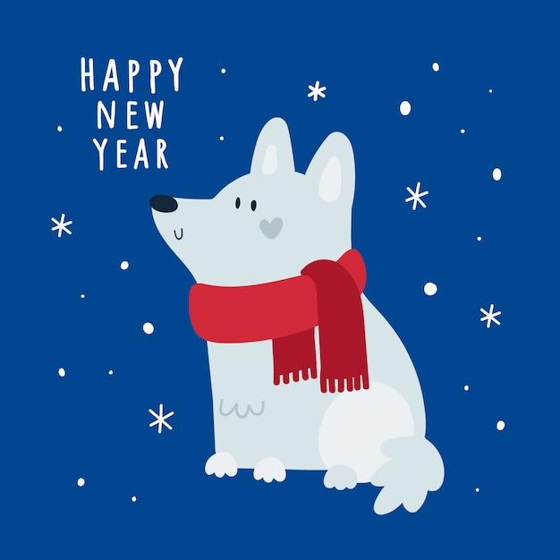 Felice anno nuovo, biglietto di auguri festivo di natale con cane cucciolo su sfondo con fiocchi di neve Vettore Premium