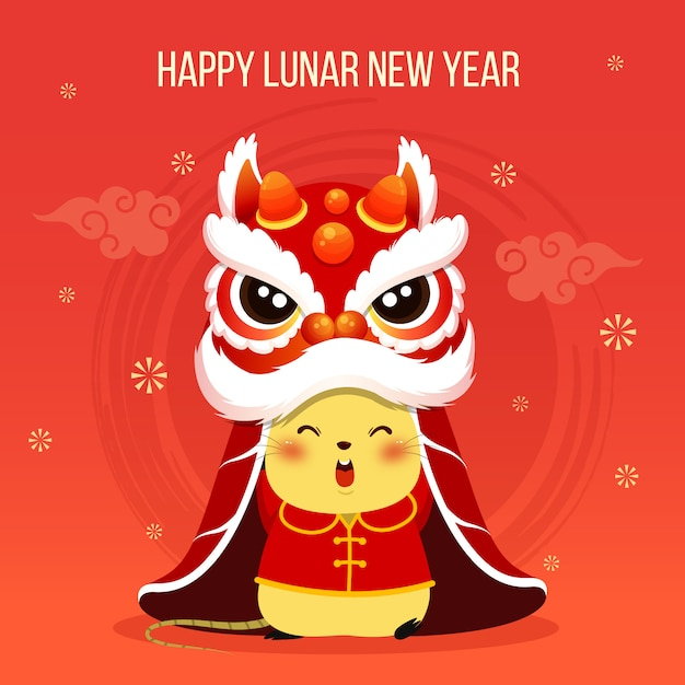 Felice anno nuovo cinese 2020 ratto zodiaco piccolo ratto con testa di danza del leone Vettore Premium
