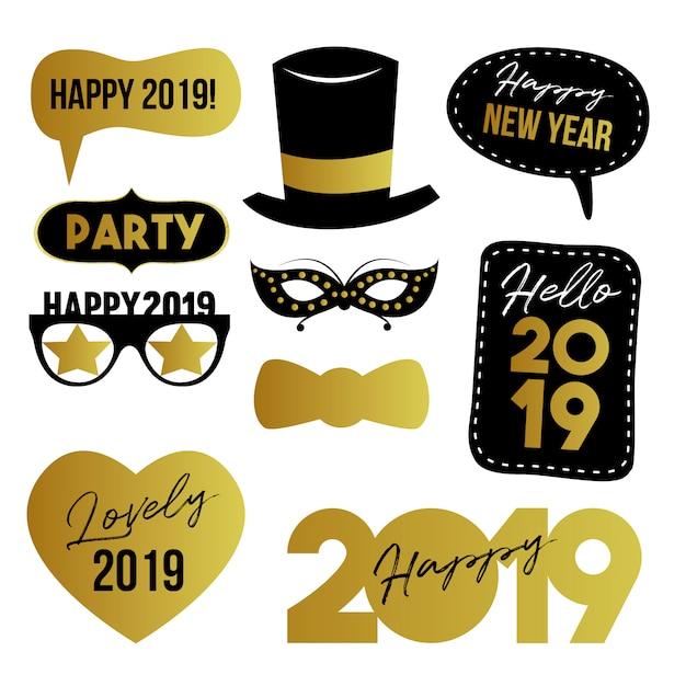 Felice anno nuovo elementi Vettore Premium