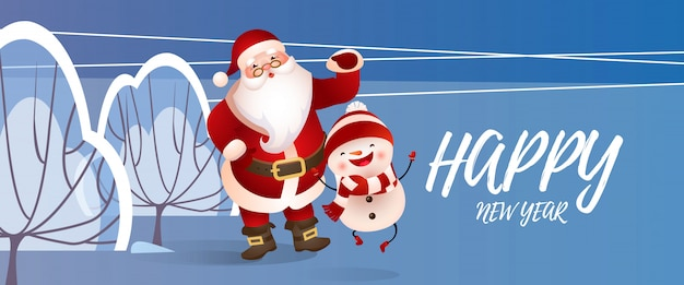 Felice anno nuovo lettering con babbo natale e pupazzo di neve Vettore gratuito